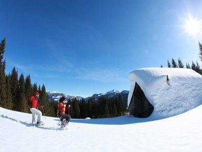 """© Röbl/OÖ Werbung   Veranstaltungen im Winter in Gosau & Gosautal im Salzkammergut:  Schneeschuhwanderung """"Genieß die Natur""""  In der Skiregion Dachstein West. Winterwandern bei Ihrem Urlaub in Gosau."""